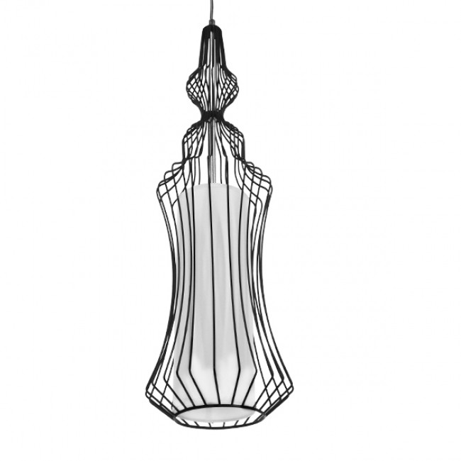 Vintage Industrial Κρεμαστό Φωτιστικό Οροφής Μονόφωτο Μαύρο Μεταλλικό Πλέγμα και Υφασμάτινο Εσωτερικό Καπέλο Φ18 GloboStar VICKY 01559