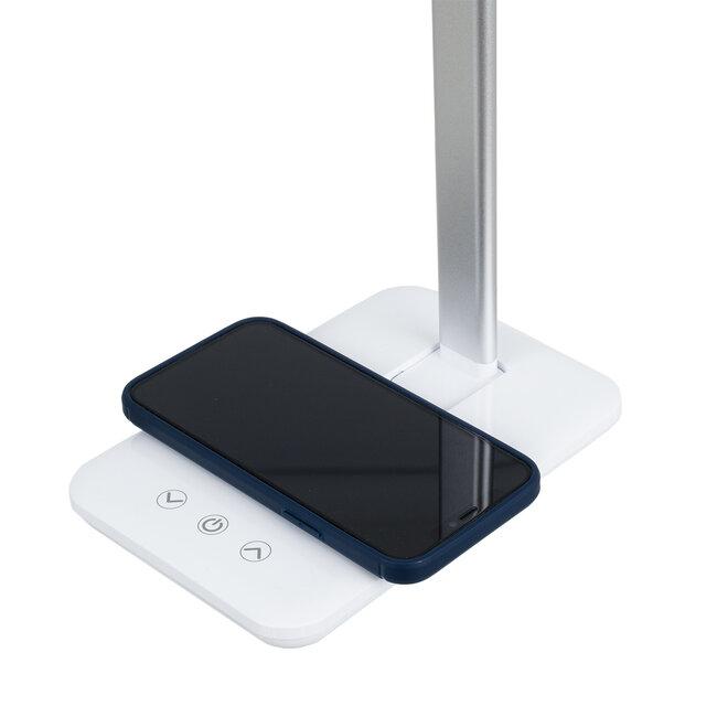 WASP 76532 Μοντέρνο Φωτιστικό Γραφείου Λευκό LED 10 Watt 1000lm DC 5V Αφής & Καλώδιο Τροφοδοσίας USB με Ασύρματη Φόρτιση - Wireless Charger - CCT Θερμό Λευκό 2700K - Φυσικό Λευκό 4500K - Ψυχρό Λευκό 6000K Dimmable - 5