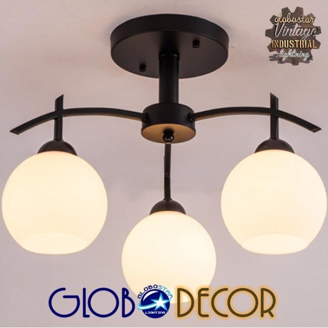Μοντέρνο Φωτιστικό Οροφής Τρίφωτο Μαύρο Μεταλλικό με Λευκό Γυαλί Φ45 GloboStar LUNA 01087 - 4