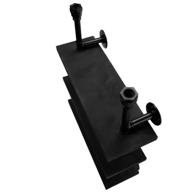 Vintage Industrial Φωτιστικό Τοίχου Απλίκα Δίφωτο Μαύρο Μεταλλικό με Ξύλινα Μαύρα Ράφια GloboStar ENIMAS 01217 - 4