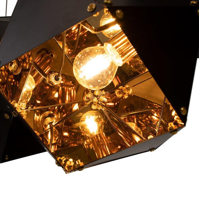 WELLES Replica 00797 Μοντέρνο Κρεμαστό Φωτιστικό Οροφής Πολύφωτο Μεταλλικό Μαύρο Χρυσό Μ98 x Π32 x Υ30cm - 8