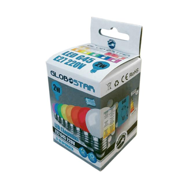 Mini Γλόμπος LED G45 2 Watt Πορτοκαλί Dark GloboStar 64009 - 2