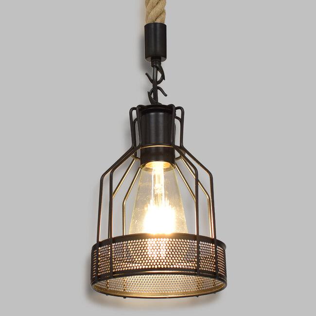 GloboStar® MASON 00881 Vintage Industrial Κρεμαστό Φωτιστικό Οροφής Μονόφωτο Μαύρο με Μπεζ Σχοινί Φ15 x Y24cm - 2