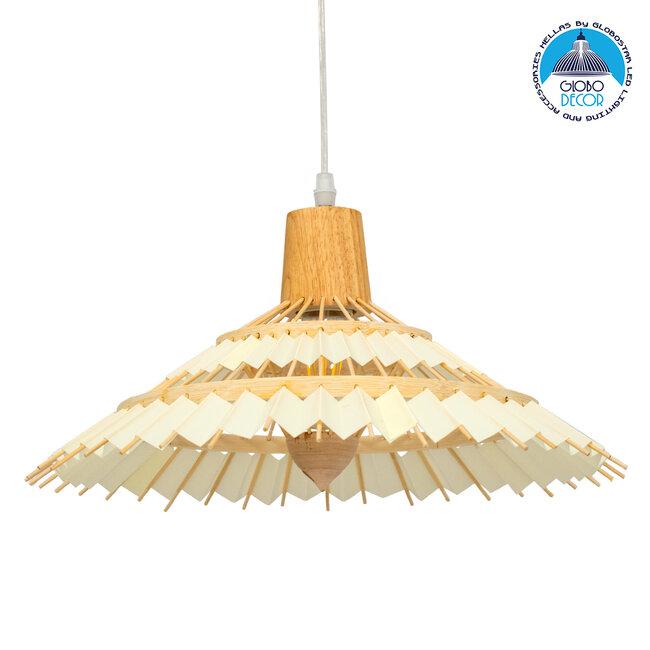 VENTALIA 00897 Vintage Κρεμαστό Φωτιστικό Οροφής Μονόφωτο Μπεζ Ξύλινο Bamboo Φ40 x Y22cm - 1
