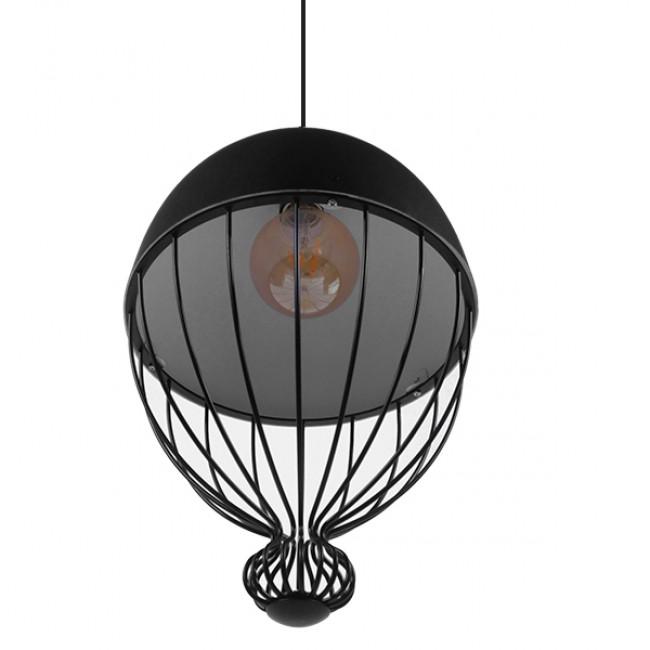 Vintage Κρεμαστό Φωτιστικό Οροφής Μονόφωτο Μαύρο Μεταλλικό Πλέγμα Φ28 GloboStar CANARIO 01107 - 7