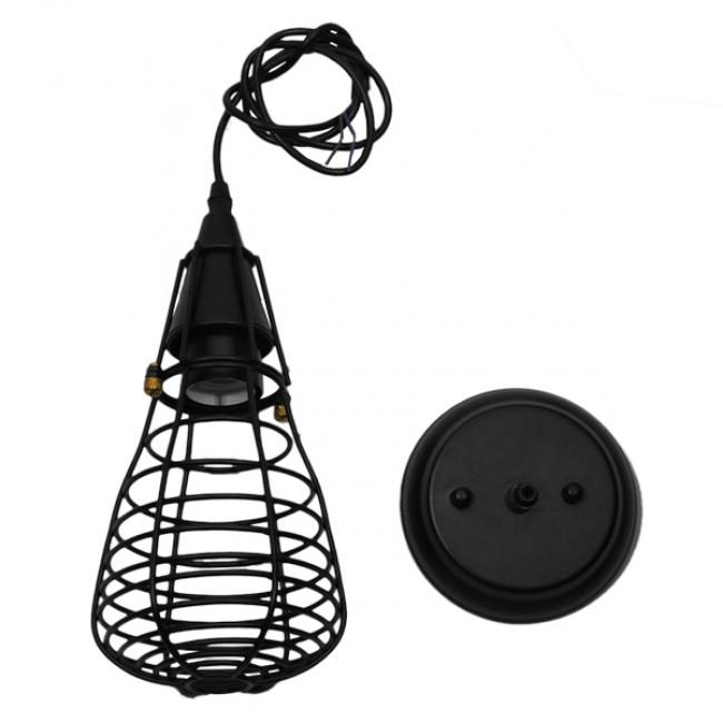 Vintage Industrial Κρεμαστό Φωτιστικό Οροφής Μονόφωτο Μαύρο Μεταλλικό Πλέγμα Φ13 GloboStar ALDO 01058 - 8