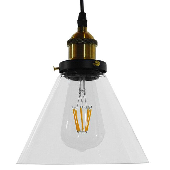 Vintage Κρεμαστό Φωτιστικό Οροφής Μονόφωτο Γυάλινο Καμπάνα Φ18  CONE 01169 - 3