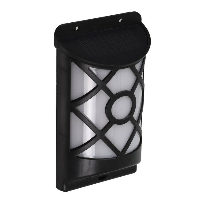 71457 Αυτόνομο Ηλιακό Φωτιστικό Τοίχου Μαύρο LED SMD 3W 220lm με Ενσωματωμένη Μπαταρία 300mAh - Εφέ Φλόγας Flame Effect - Φωτοβολταϊκό Πάνελ με Αισθητήρα Ημέρας-Νύχτας IP65 Θερμό Λευκό 2200K - 3