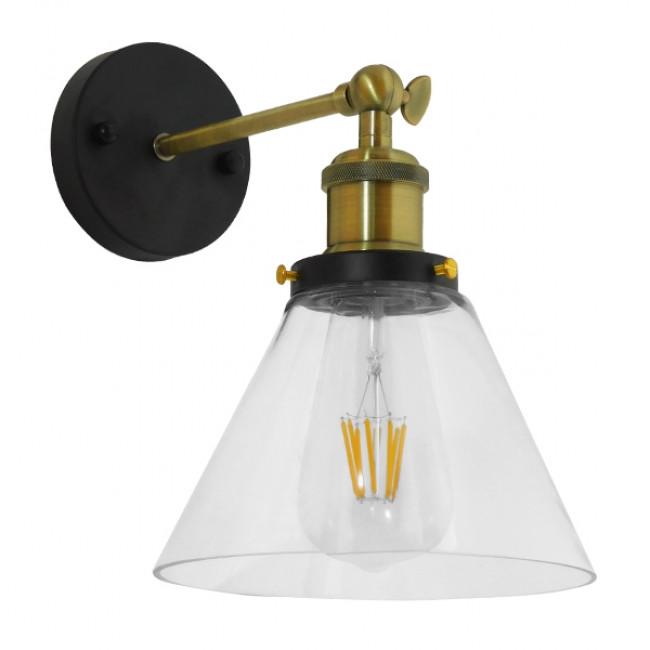 Vintage Φωτιστικό Τοίχου Απλίκα Μονόφωτο Χρυσό Μεταλλικό με Γυάλινη Καμπάνα Φ18 Globostar CATHERINE 01074 - 1