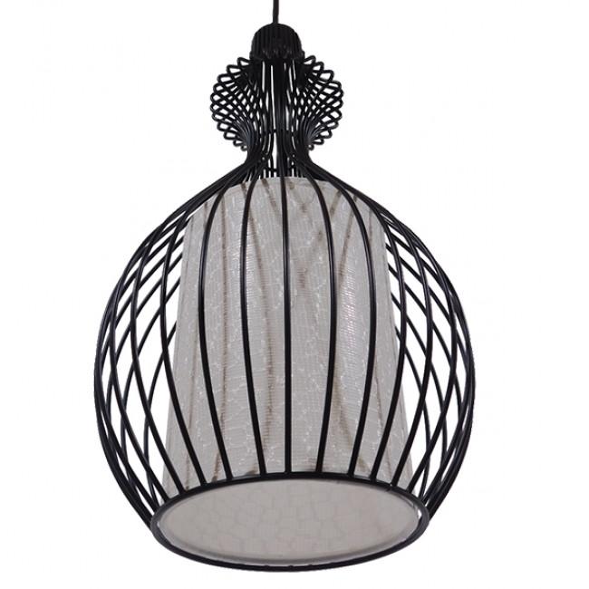Μοντέρνο Κρεμαστό Φωτιστικό Οροφής Μονόφωτο Μαύρο Μεταλλικό Πλέγμα με Υφασμάτινο Εσωτερικό Καπέλο Φ21 GloboStar THYDA 01197 - 5