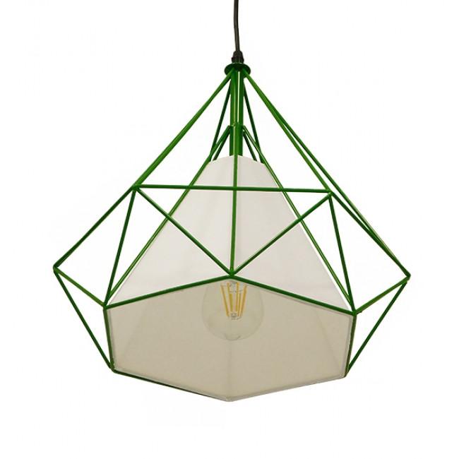 Μοντέρνο Industrial Κρεμαστό Φωτιστικό Οροφής Μονόφωτο Πράσινο με Άσπρο Ύφασμα Μεταλλικό Πλέγμα Φ38  KAIRI GREEN 01622 - 4