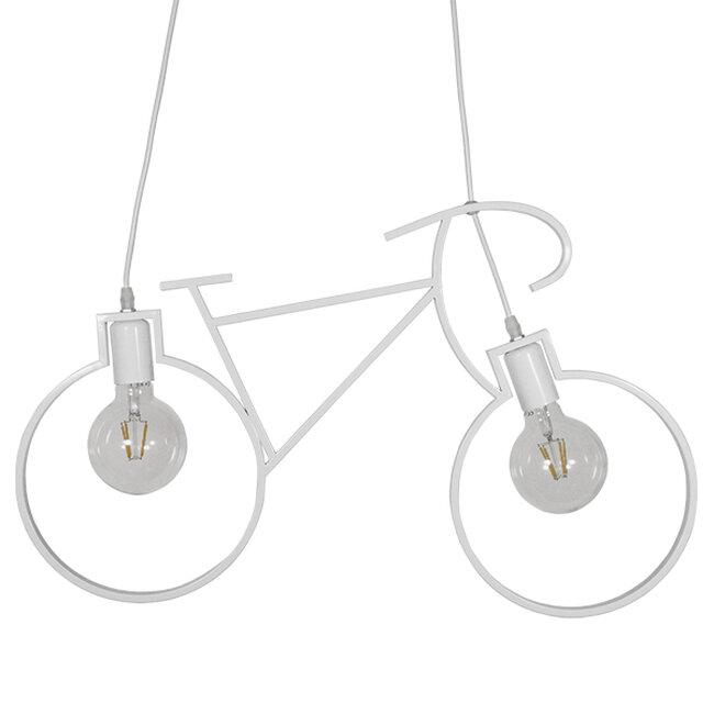 Vintage Κρεμαστό Φωτιστικό Οροφής Δίφωτο Λευκό Μεταλλικό  BIKE 01300 - 3