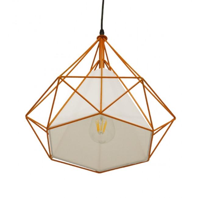 Μοντέρνο Industrial Κρεμαστό Φωτιστικό Οροφής Μονόφωτο Πορτοκαλί με Άσπρο Ύφασμα Μεταλλικό Πλέγμα Φ38  KAIRI ORANGE 01621 - 4