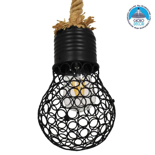 Vintage Industrial Κρεμαστό Φωτιστικό Οροφής Μονόφωτο Μαύρο Μεταλλικό Πλέγμα με Μπεζ Σχοινί Φ15 GloboStar URBAN BLACK 01521