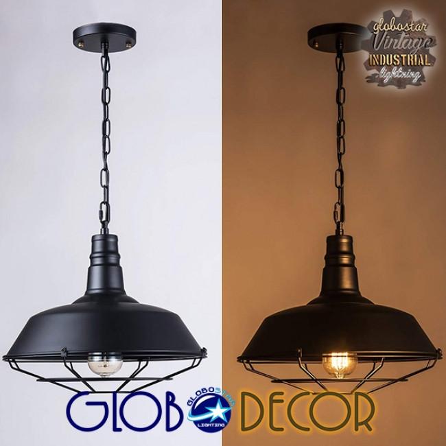 Vintage Industrial Κρεμαστό Φωτιστικό Οροφής Μονόφωτο Μαύρο Μεταλλικό Καμπάνα Φ46 GloboStar BARN BLACK 01048 - 4
