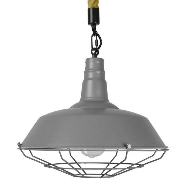 Vintage Industrial Κρεμαστό Φωτιστικό Οροφής Μονόφωτο Γκρι Λευκό Μεταλλικό Καμπάνα Πλέγμα με Μπεζ Σχοινί Φ36 GloboStar LUCI 01411 - 3