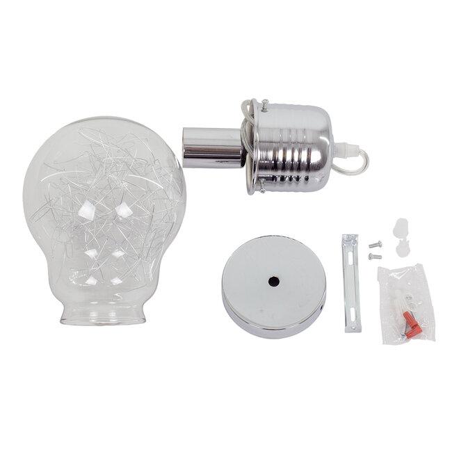 LAMP 01676 Μοντέρνο Κρεμαστό Φωτιστικό Οροφής Μονόφωτο Ασημί Νίκελ Μεταλλικό Διάφανο Γυαλί Φ15 x Υ27cm - 8