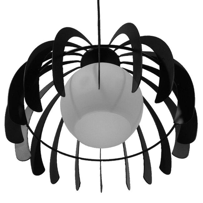 Μοντέρνο Κρεμαστό Φωτιστικό Οροφής Μονόφωτο Μαύρο Μεταλλικό Πλέγμα με Λευκό Γυαλί Φ26  INGLEY 01226 - 6