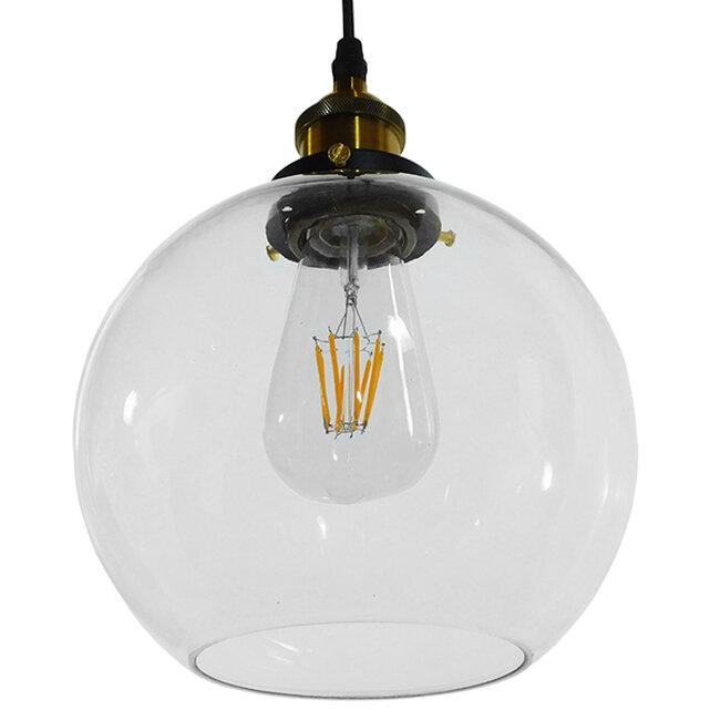 Vintage Κρεμαστό Φωτιστικό Οροφής Μονόφωτο Γυάλινο Καμπάνα Φ18  COLLINS 01170 - 5