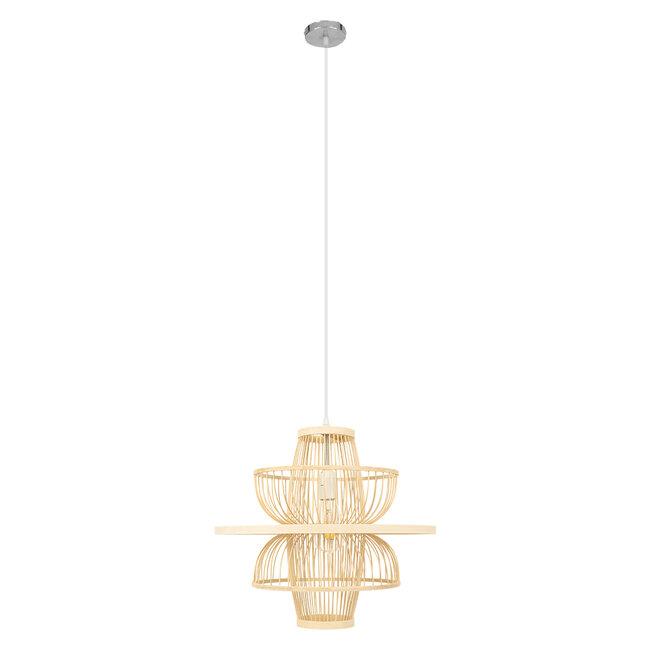 BALI 00861 Vintage Κρεμαστό Φωτιστικό Οροφής Μονόφωτο Μπεζ Ξύλινο Bamboo Φ45 x Y42.5cm - 4