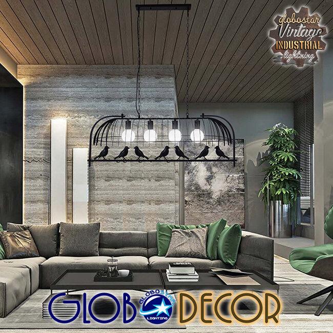 Vintage Industrial Κρεμαστό Φωτιστικό Οροφής Πολύφωτο Mαύρο Μεταλλικό Πλέγμα  NEST 01255 - 9