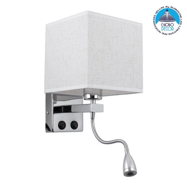 ELEGANT 01495 Μοντέρνο Φωτιστικό Τοίχου Απλίκα Μεταλλικό Χρώμιο Νίκελ με Λευκό Ύφασμα Δίφωτο 1xE27 - Ρυθμίζόμενο Σώμα Σπιράλ με CREE LED 3W Θερμό Λευκό 2700K - Διακόπτες On / Off Μ17 x Π21 x Υ43cm - 1