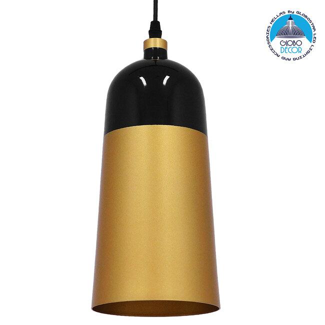 Μοντέρνο Κρεμαστό Φωτιστικό Οροφής Μονόφωτο Μαύρο - Χρυσό Μεταλλικό Καμπάνα Φ14  PALAZZO GOLD BLACK 01523 - 1