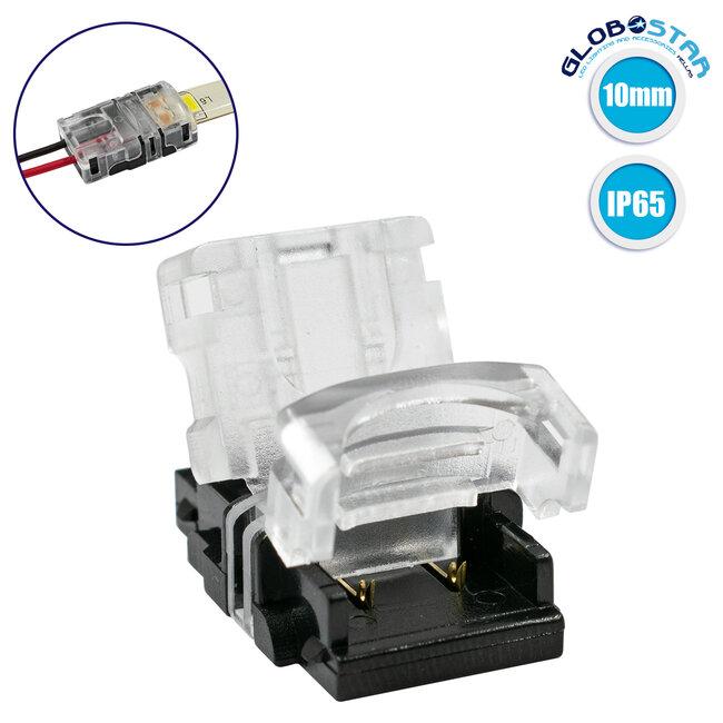 GloboStar® 70720 Αδιάβροχος Ταχυσύνδεσμος Ένωσης IP65 - Strip To Cable Connector για Ένωση 1 x Μονόχρωμης Αδιάβροχης Ταινίας LED Πλάτους 10mm με 1 x Καλώδιο Τροφοδοσίας - 1