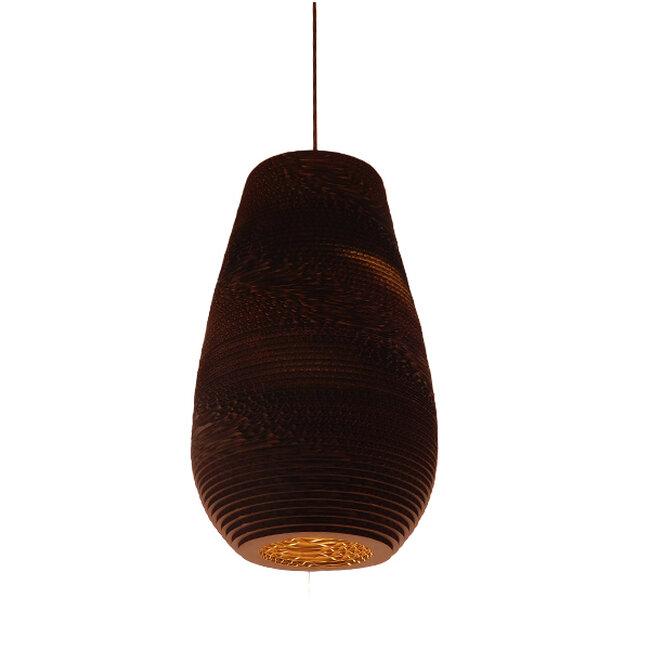 Vintage Κρεμαστό Φωτιστικό Οροφής Μονόφωτο 3D από Επεξεργασμένο Σκληρό Καφέ Χαρτόνι Καμπάνα Φ25  IKARIA 01294 - 9