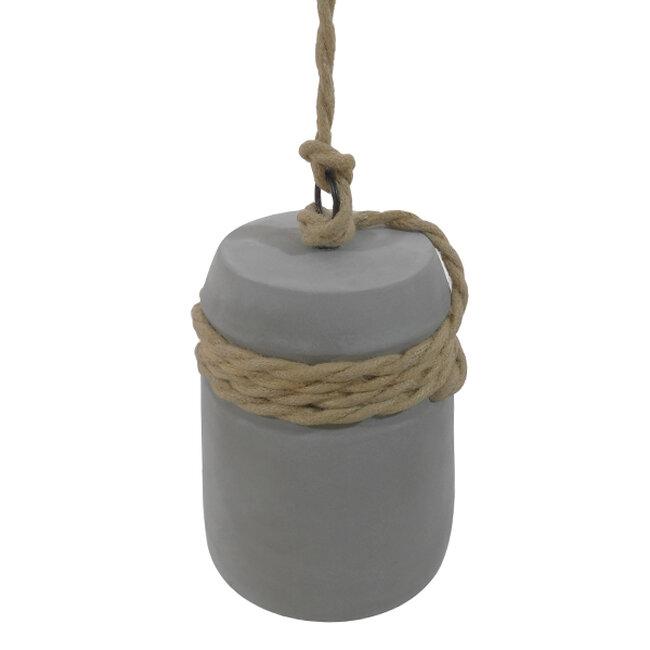 Μοντέρνο Industrial Κρεμαστό Φωτιστικό Οροφής Μονόφωτο Γκρι Τσιμέντο Καμπάνα Φ18  ETESIAN 01319 - 3