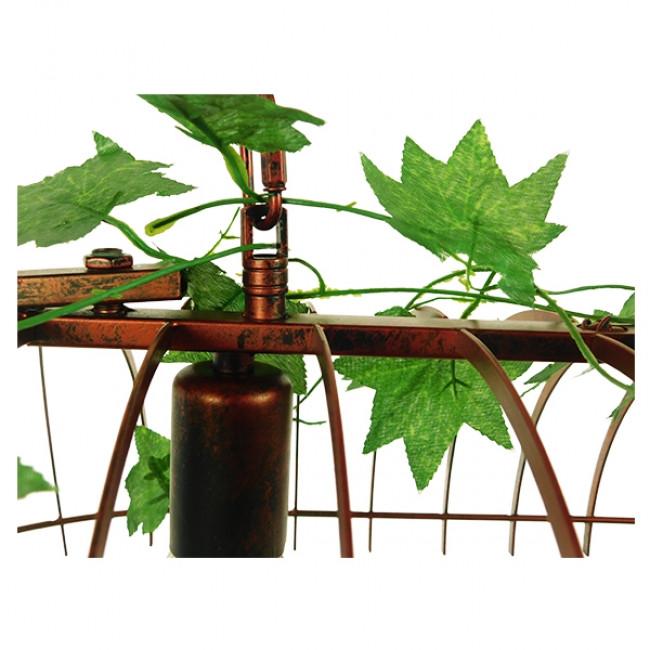 Vintage Industrial Κρεμαστό Φωτιστικό Οροφής Δίφωτο Καφέ Σκουριά Μεταλλικό Πλέγμα GloboStar CABALBI 01645 - 7