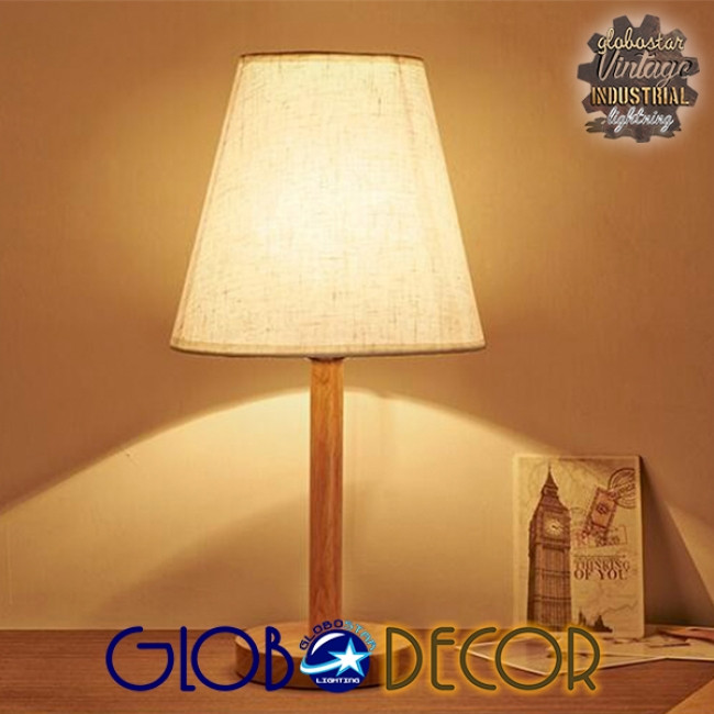 Μοντέρνο Επιτραπέζιο Φωτιστικό Πορτατίφ Μονόφωτο Ξύλινο με Λευκό Καπέλο Φ21 GloboStar NAPHIE 01208 - 3