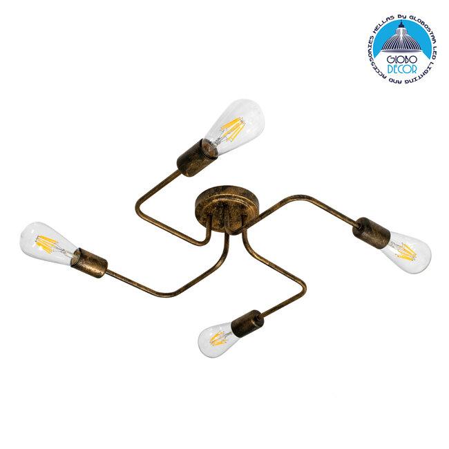 GloboStar® LIBERTA 00839 Μοντέρνο Φωτιστικό Οροφής Πολύφωτο Χάλκινο Σκουριά Μ44.5 x Π44.5 x Υ12cm