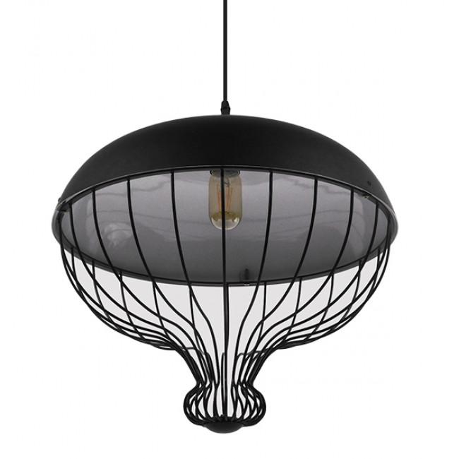 Vintage Κρεμαστό Φωτιστικό Οροφής Μονόφωτο Μαύρο Μεταλλικό Πλέγμα Φ46 GloboStar SOBRINO 01108 - 4
