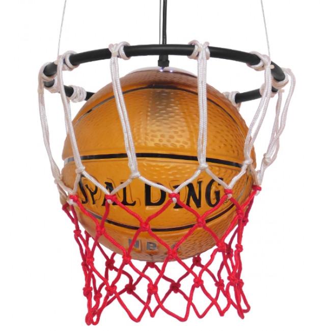 Μοντέρνο Κρεμαστό Φωτιστικό Οροφής Μονόφωτο Πορτοκαλί Μεταλλικό Πλέγμα Φ32 GloboStar NBA  01027 - 1