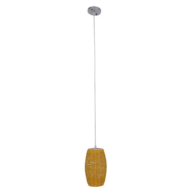 Vintage Κρεμαστό Φωτιστικό Οροφής Μονόφωτο Καφέ Ξύλινο Bamboo Φ15  SAO PAULO 01631 - 3