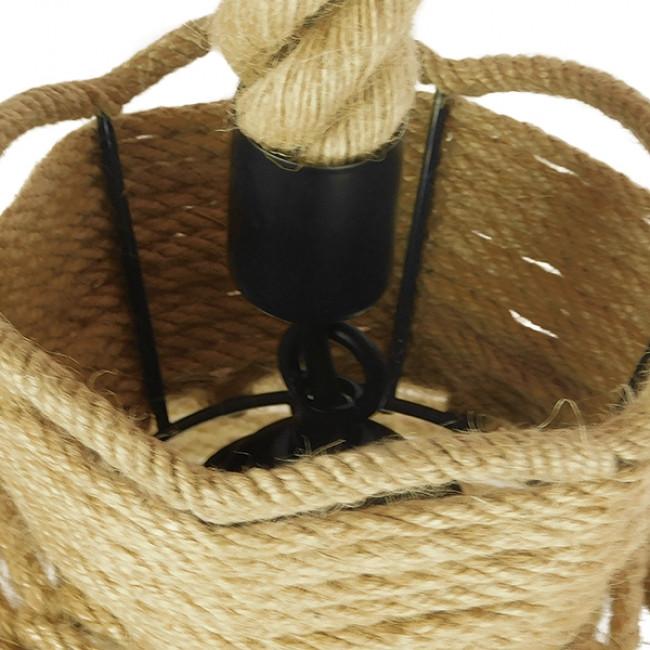 Vintage Κρεμαστό Φωτιστικό Οροφής Μονόφωτο Πλέγμα με Μπεζ Σχοινί Φ34 GloboStar VENIER 01610 - 8