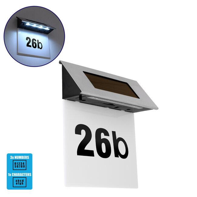 71485 Αυτόνομο Ηλιακό Φωτιστικό LED SMD 1W 100lm με Ενσωματωμένη Μπαταρία 600mAh - Φωτοβολταϊκό Πάνελ με Αισθητήρα Ημέρας-Νύχτας για Αρίθμηση Διεύθυνσης Δρόμου Αδιάβροχο IP65 Ψυχρό Λευκό 6000K - 2