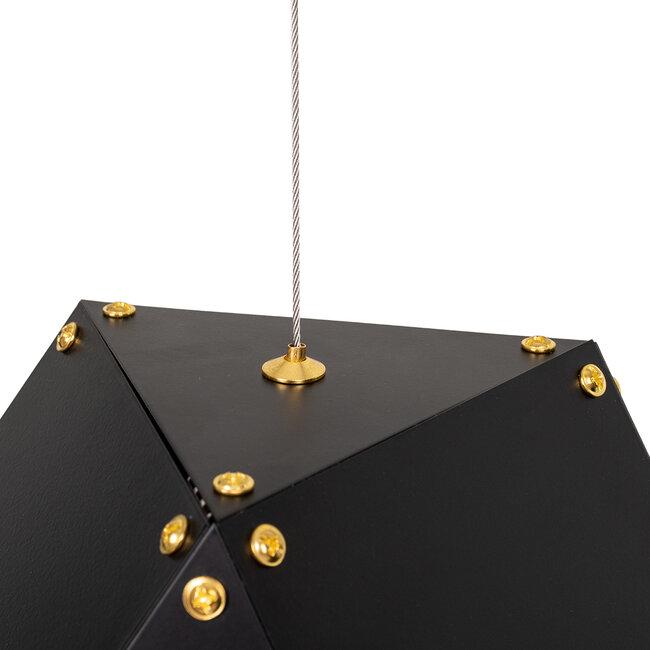 WELLES Replica 00797 Μοντέρνο Κρεμαστό Φωτιστικό Οροφής Πολύφωτο Μεταλλικό Μαύρο Χρυσό Μ98 x Π32 x Υ30cm - 6