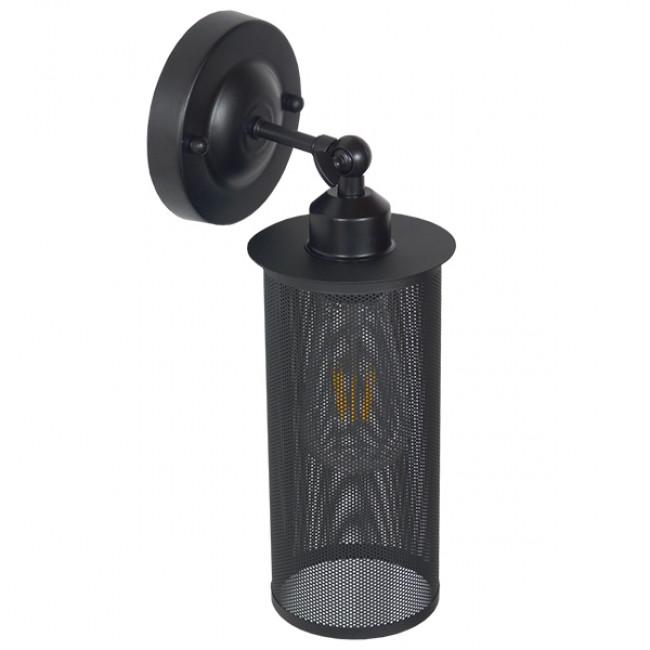 Vintage Industrial Φωτιστικό Τοίχου Απλίκα Μονόφωτο Μαύρο Μεταλλικό Πλέγμα Φ10  HOLVIA 01160 - 3