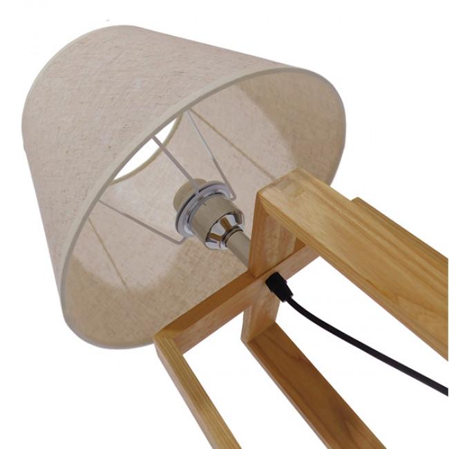 Μοντέρνο Επιτραπέζιο Φωτιστικό Πορτατίφ Μονόφωτο Ξύλινο με Μπεζ Καπέλο Φ30 GloboStar SQUID 01265 - 9