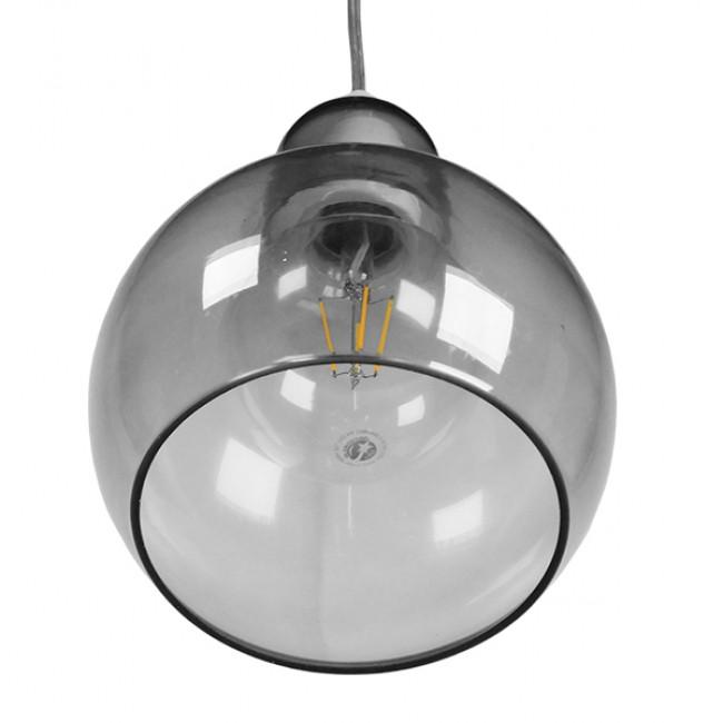 Μοντέρνο Κρεμαστό Φωτιστικό Οροφής Μονόφωτο Γυάλινο Γκρι Διάφανο Φ18 GloboStar BOSSANOVA 01313 - 7