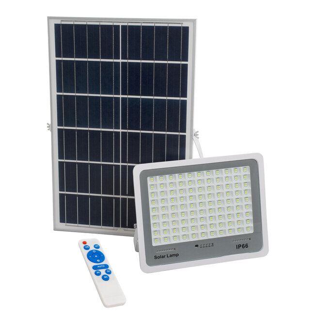 GloboStar® 71561 Αυτόνομος Ηλιακός Προβολέας LED SMD 200W 24000lm με Ενσωματωμένη Μπαταρία 20000mAh - Φωτοβολταϊκό Πάνελ με Αισθητήρα Ημέρας-Νύχτας και Ασύρματο Χειριστήριο RF 2.4Ghz Αδιάβροχος IP66 Ψυχρό Λευκό 6000K - 2