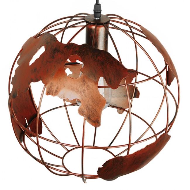 Vintage Industrial Κρεμαστό Φωτιστικό Οροφής Μονόφωτο Καφέ Σκουριά Μεταλλικό Πλέγμα Φ30 GloboStar EARTH RUST 30CM 01662 - 4