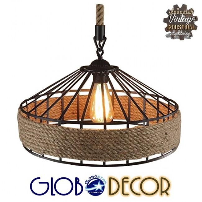 Vintage Κρεμαστό Φωτιστικό Οροφής Μονόφωτο Μαύρο Μεταλλικό με Μπεζ Σχοινί Φ50 GloboStar POLI 01147 - 3