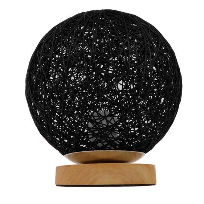 Μοντέρνο Επιτραπέζιο Φωτιστικό Πορτατίφ Μονόφωτο Μαύρο Ξύλινο Ψάθινο Rattan Φ20 GloboStar INDUS 01338 - 3