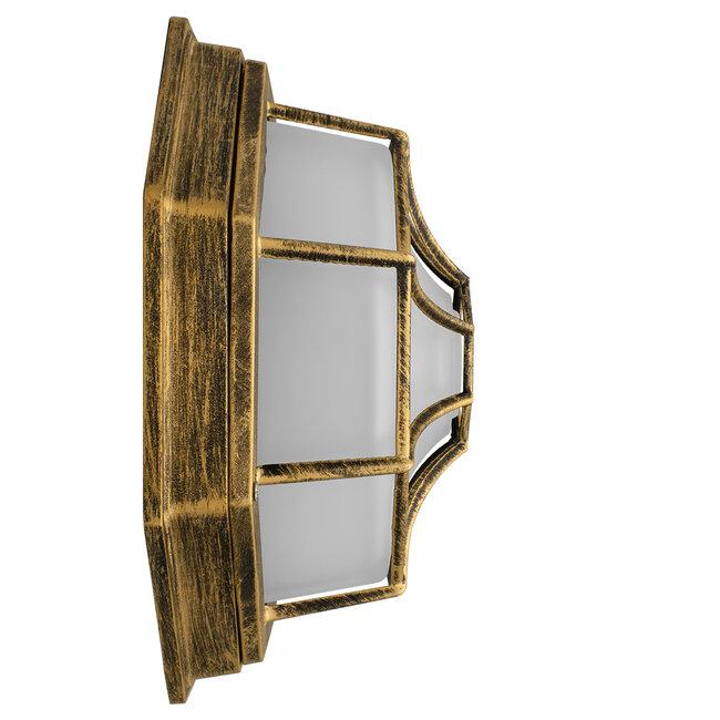 RUBY 00914 Vintage Μεταλλικό Φωτιστικό Πλαφονιέρα Οροφής - Απλίκα Τοίχου από Αλουμίνιο με Ντουί E27 Μονόφωτο Μπρούτζινο Σκουριά με Γαλακτερό Γυαλί Μ27 x Π27 x Υ12cm - 6