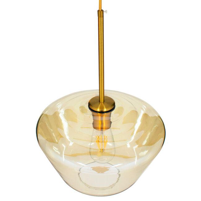 GloboStar® AMARIS 00870 Μοντέρνο Κρεμαστό Φωτιστικό Οροφής Μονόφωτο Γυάλινο Φιμέ Μελί Φ30 x 22CM - 6