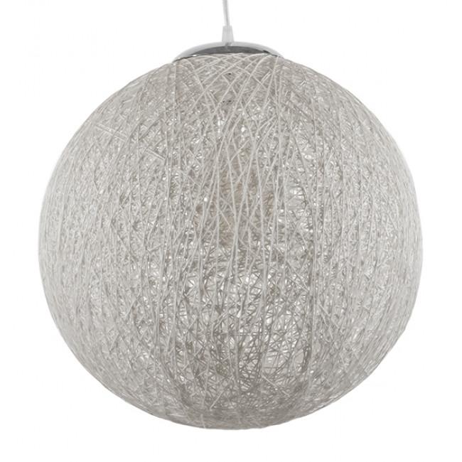 Vintage Κρεμαστό Φωτιστικό Οροφής Μονόφωτο Λευκό Ξύλινο Ψάθινο Rattan Φ40  SISO 01359 - 3