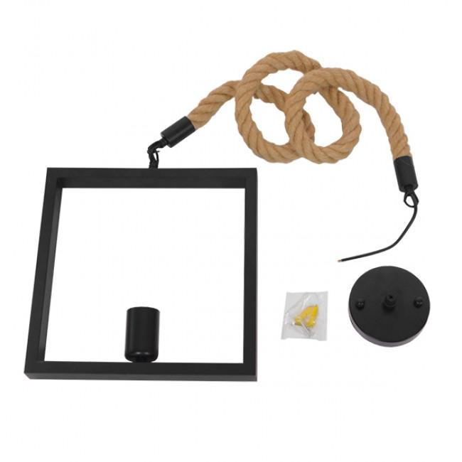 Vintage Κρεμαστό Φωτιστικό Οροφής Μονόφωτο Μαύρο Μεταλλικό με Μπεζ Σχοινί GloboStar FRAISE 01077 - 8